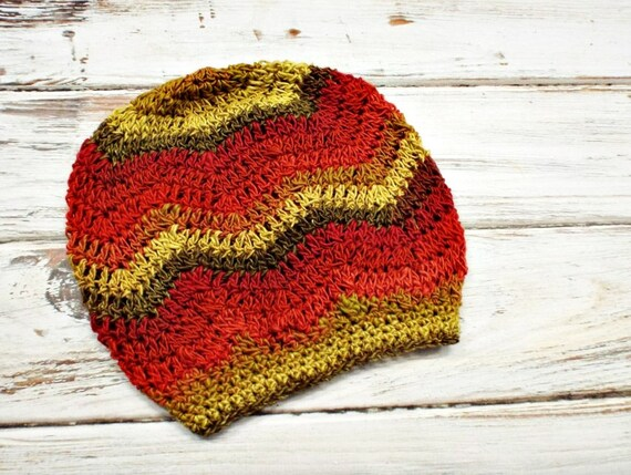 Crochet Hat Womens Hat - Chevron Slouchy Hat Chevron Beanie Flame Red Orange Yellow Hat Red Hat Womens Accessories - READY TO SHIP