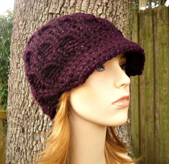 Purple Womens Hat Purple Newsboy Hat - Amsterdam Cable Beanie with Visor Galaxy Eggplant Purple Hat - Womens Accessories Winter Hat