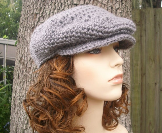 Crochet Hat Womens Hat Mens Hat Newsboy Hat - Flat Cap Golf Hat in Oxford Grey Crochet Hat - Grey Hat Womens Accessories