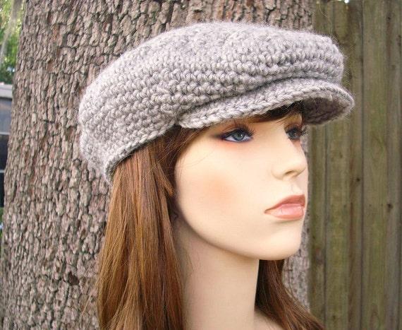 Crochet Hat Grey Womens Hat Grey Mens Hat Grey Newsboy Hat - Grey Golf Hat Grey Flat Cap in Heather Grey Crochet Hat - Womens Accessories