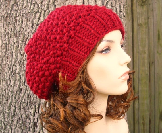 Knit Hat Womens Hat Slouchy Beanie - Seed Beret Hat in Cranberry Red Knit Hat - Red Hat Red Beret Red Beanie Womens Accessories