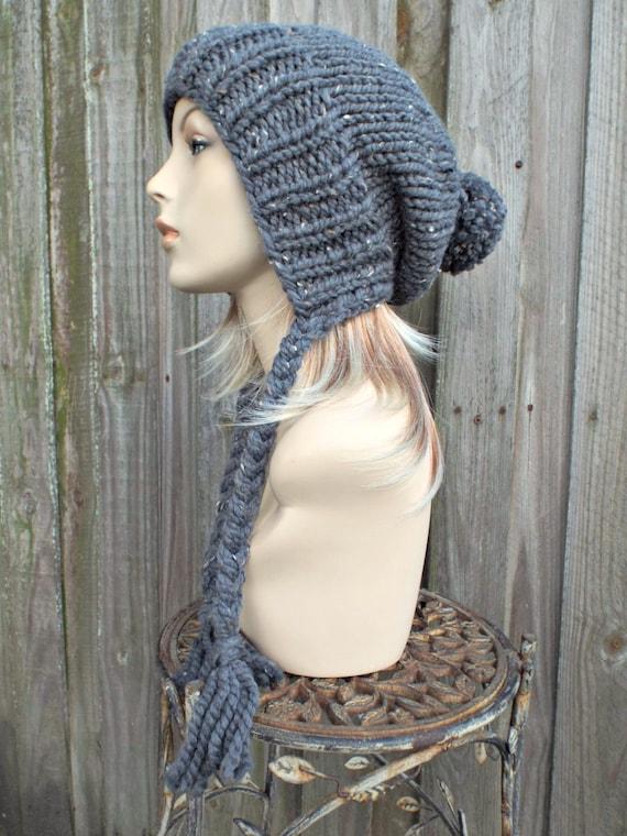 Grey Womens Pom Pom Hat - Graphite Tweed Grey Hat Grey Ear Flap Hat Grey Slouchy Beanie - Charlotte Winter Hat