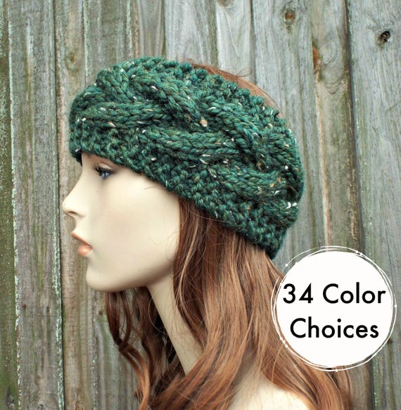 Branch Cable Headband in Tweed Green Kale - Green Headband Greed Earwarmer Womens Headband - Knit Accessories