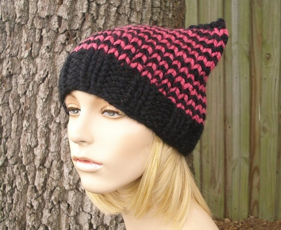 Knit Hat Womens Hat - Cat Beanie Black and Raspberry Pink Knit Hat - Black Hat Pink Hat Pink Pussyhat Pink Pussy Hat