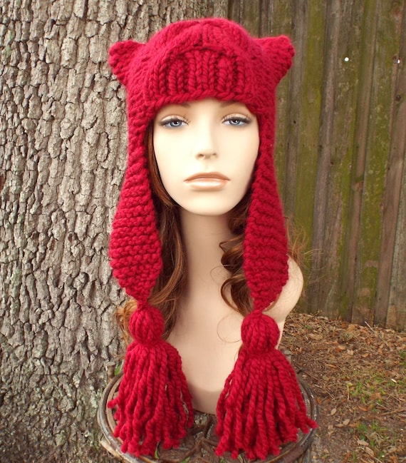 Cranberry Red Ear Flap Hat Womens Hat - Tassel Dragon Red Knit Hat - Red Hat Red Beanie Womens Accessories Winter Hat