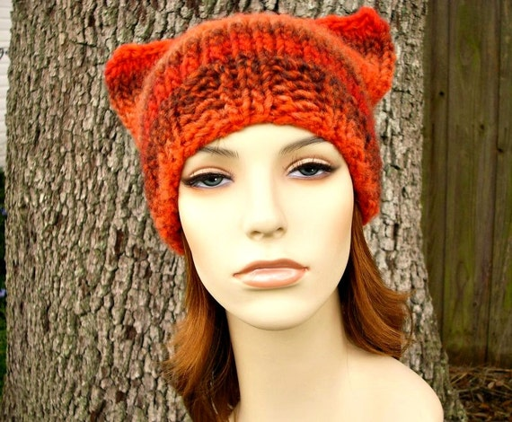 Knit Hat Orange Womens Hat - Cat Beanie Hat in Sunset Orange Stripes Knit Hat - Orange Hat Orange Beanie Womens Accessories Winter Hat