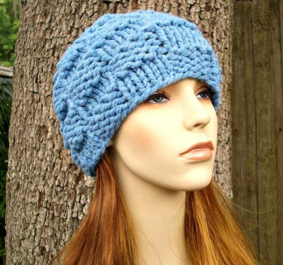 Blue Womens Hat - Basket Weave Beanie Sky Blue Chunky Knit Hat - Blue Hat Blue Beanie Womens Accessories Fall Fashion Winter Hat