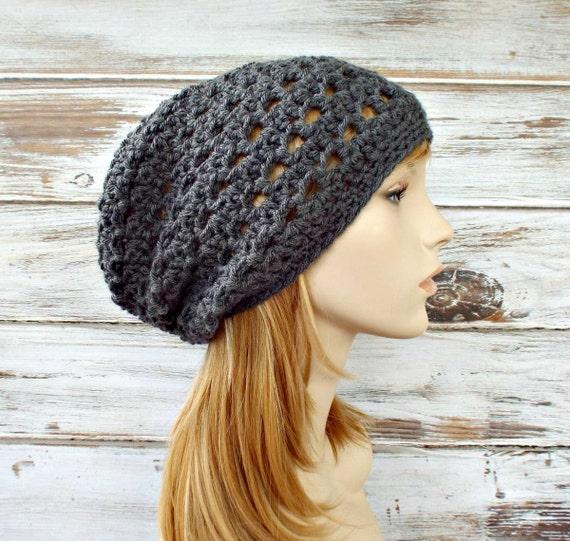 Crochet Hat Grey Womens Hat Slouchy Beanie Grey Hat Grey Beanie - Juliet Slouchy Hat in Grey - Womens Winter Hat - READY TO SHIP