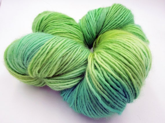 Hand Dyed Yarn 100% Superwash Merino Single Ply Fingering Weight Sock Yarn - Variegated Aqua Yarn Bright Yellow Yarn Green Yarn - Summertime