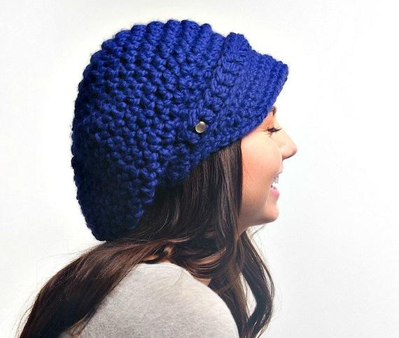 Cobalt Blue Womens Hat Blue Newsboy Hat - Crochet Newsboy Hat Cobalt Blue Crochet Hat - Blue Hat Blue Beanie Womens Accessories