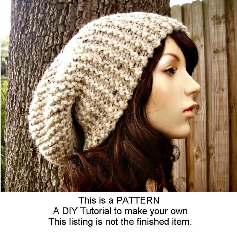 b856af624d9 Instant Download Knitting Pattern Oversized Slouchy Hat