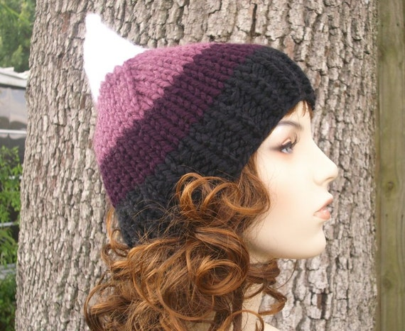 Knit Hat Womens Hat - Purple Gnome Hat in Chittenden Purple Knit Hat - Purple Hat Purple Beanie Womens Accessories Winter Hat