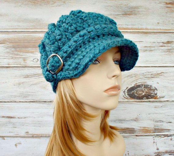 Crochet Hat Blue Womens Hat Blue Hat Blue Newsboy Hat - Oversized Monarch Ribbed Crochet Newsboy Hat - Womens Accessories