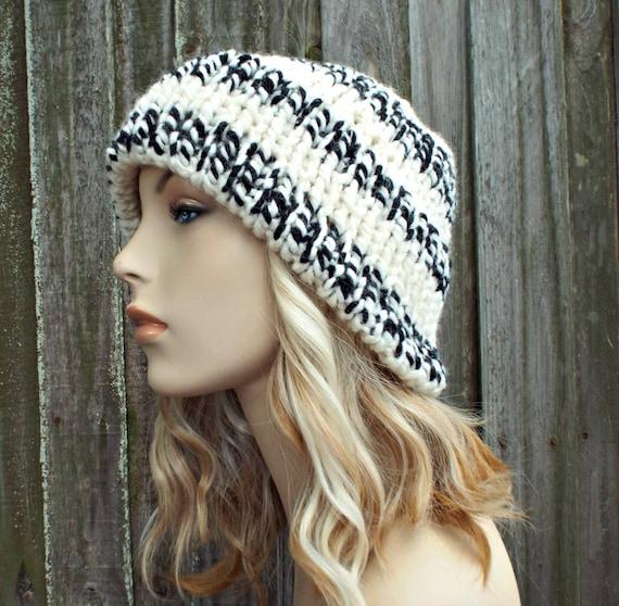 680dc3dbf482e Cream Black Mens Or Womens Double Thick Brim Knit Hat Warm