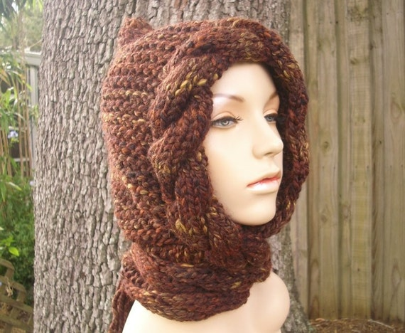 Knit Hat Womens Hat - Cable Scarf Hat in Sequoia Brown Scarf - Hooded Scarf Knit Hat Brown Hat - Womens Accessories