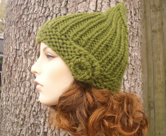 Knit Hat Womens Hat - Quinn Beanie in Olive Green Knit Hat Green Hat - Womens Accessories Winter Hat