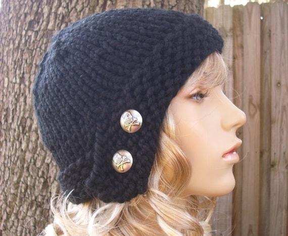 Knit Hat Womens Hat - Black Cloche Hat in Black Knit Hat - Black Hat Womens Accessories Winter Hat