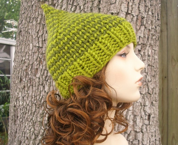 Knit Hat Womens Hat - Green Gnome Hat in Dueling Greens Knit Hat - Green Hat Womens Accessories Chunky Beanie Lemongrass and Olive Green