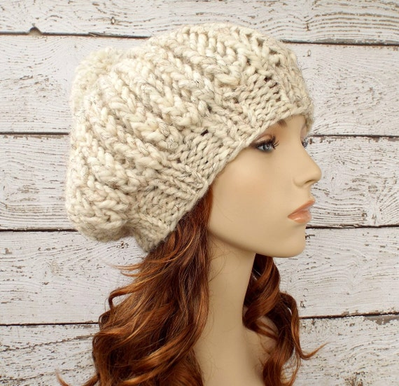 Instant Download Knitting Pattern - Knit Hat Knitting Pattern - Knit Hat Pattern for Ludmilla Ribbed Beret Slouchy Hat Womens Hat