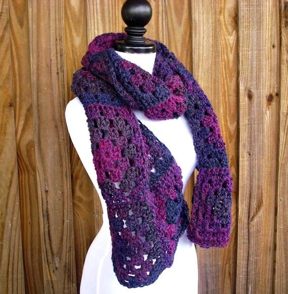 Purple Crochet Scarf - Granny Square Scarf Concord Grape Jelly Purple - Purple Scarf Chunky Scarf Womens Accessories Fall Fashion