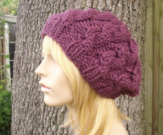 58ce091ccb4 Purple Knit Hat Womens Hat Cable Beret Hat in Fig Purple