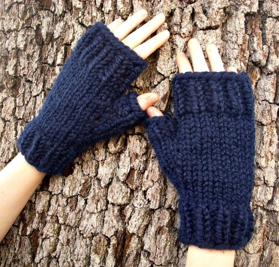 Navy Blue Fingerless Gloves - Navy Blue Gloves Navy Blue Mittens Navy Gloves Navy Mittens Womens Accessories