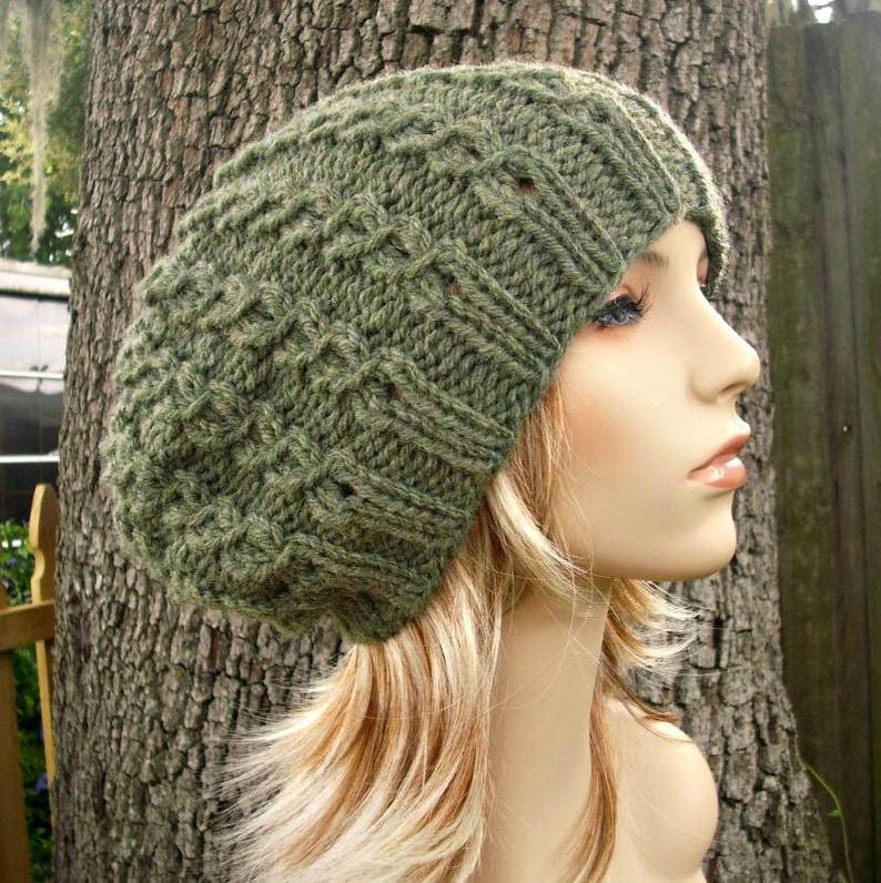 2ea91d11658a89 Knit Hat Womens Hat Slouchy Beanie Eyelet Cable Slouchy Hat   Etsy