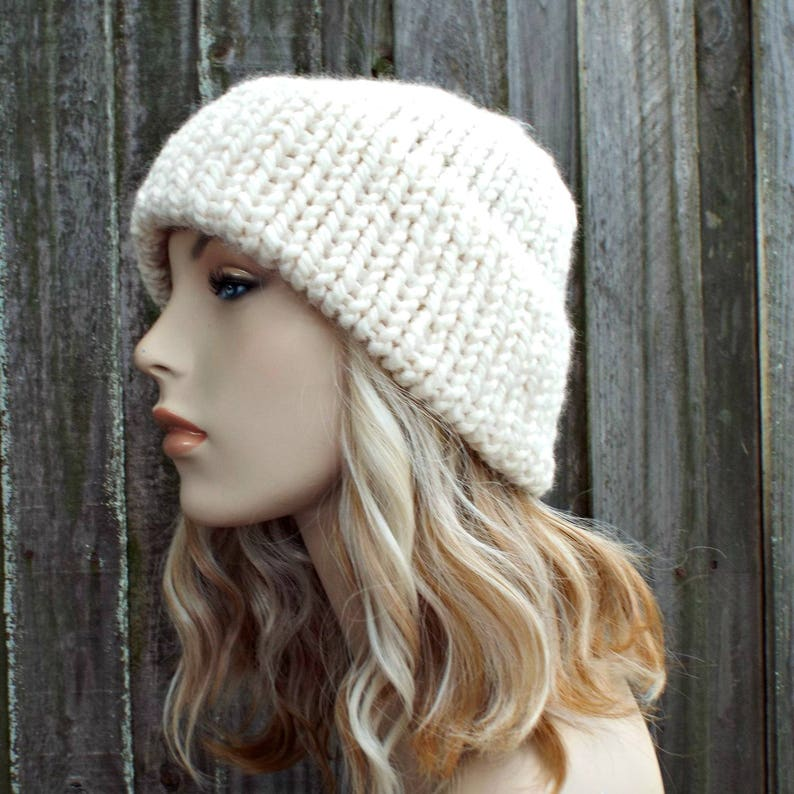 999c10391d043 Cream Mens Or Womens Double Thick Brim Knit Hat Warm Thick