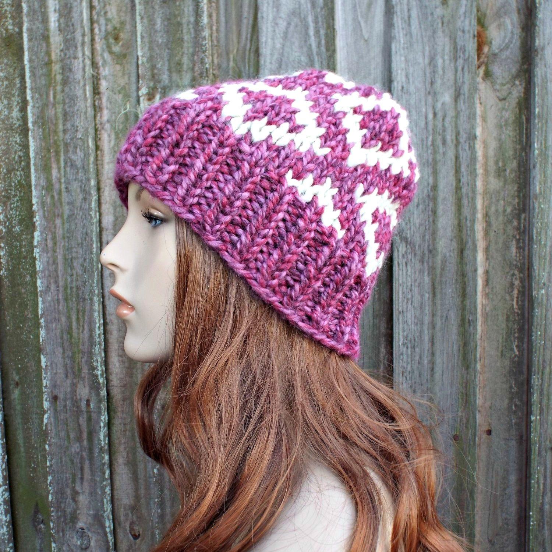 5dc5edd681 Pink and Cream Diamond Fair Isle Hat - Pink Knit Hat Womens Hat Pink Beanie  Pink Hat - Pink Winter Hat - READY TO SHIP
