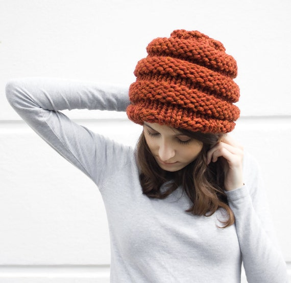 Knit Hat Womens Hat Mens Hat - Beehive Beanie in Rust Orange Spice Knit Hat - Orange Hat Orange Beanie Womens Accessories Winter Hat