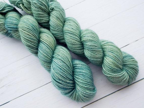 Hand Dyed Sock Yarn Superwash Wool Nylon 80/20 Fingering Weight Yarn Sock Yarn 50 Grams - Tonal Green Yarn - Sage Green Sock Yarn