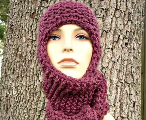 Purple Hooded Scarf Hat Womens Hat - Garter Nomad Scarf Hat Knit Hat Purple Hat Purple Scarf Womens Accessories Winter Hat