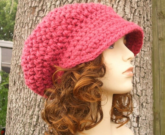 Crochet Hat Pink Womens Hat Pink Newsboy Hat - Crochet Newsboy Hat in Raspberry Pink Crochet Hat - Pink Hat Pink Beanie Womens Accessories