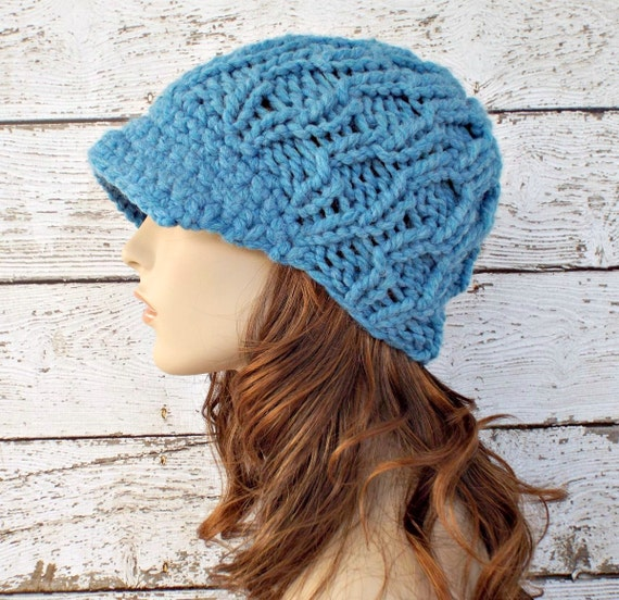 Blue Womens Hat Blue Newsboy Hat - Amsterdam Cable Beanie Visor Sky Blue Chunky Knit Hat Blue Hat  Womens Accessories - READY TO SHIP
