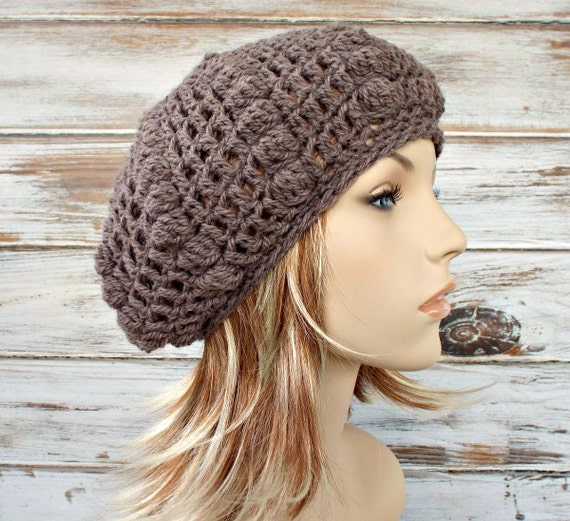 Taupe Crochet Hat Taupe Womens Hat Taupe Beret - Thistle Bobble Beret Hat Heath Heather Taupe Womens Accessories - READY TO SHIP