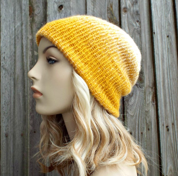Double Knit Hat Cream and Yellow Mustard Womens Beanie, Mens Beanie, Reversible Thick Winter Hat