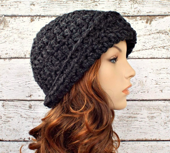 Crochet Hat Womens Hat 1920s Flapper Hat - Garbo Cloche Hat Charcoal Grey Crochet Hat - Grey Hat Grey Beanie Womens Accessories Winter Hat