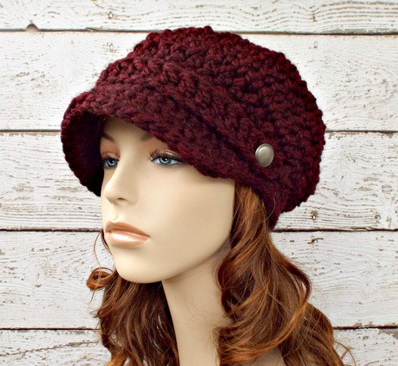 Crochet Chunky Womens Newsboy Hat in Burgundy Red Wine - Burgundy Hat Womens Accessories Fall Fashion Winter Hat