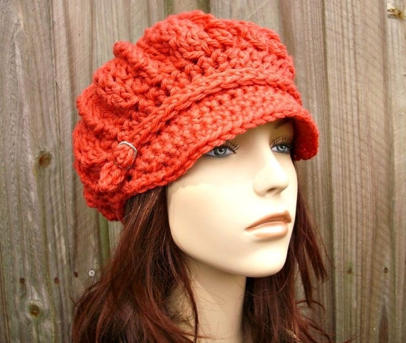 8252430af38 ... Crochet Hat Womens Hat - Spring Monarch Ribbed Crochet Newsboy Hat in  Pink Salmon Crochet Hat