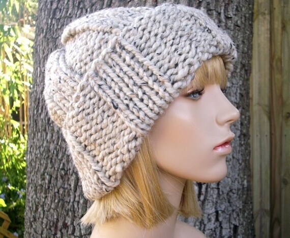 Knit Hat Womens Hat Mens Hat - Watchman Cap Beanie in Tweed Oatmeal Knit Hat - Oatmeal Hat Oatmeal Beanie Winter Hat - READY TO SHIP