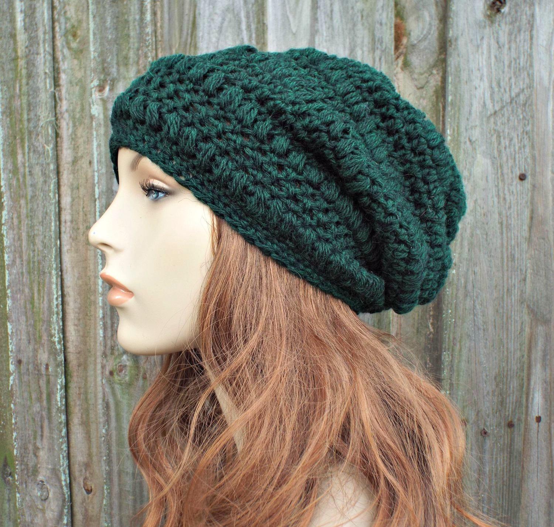 e0bfdd2362491c Hunter Green Crochet Hat Womens Hat - Penelope Puff Stitch Slouchy Beanie  Hat - Green Beanie Green Hat Wool Hat