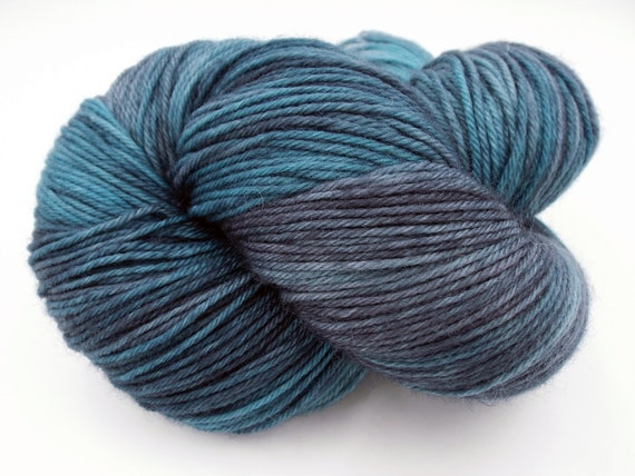 Hand Dyed Yarn Hand Dyed Sock Yarn Superwash Merino Nylon Blend 80/20 Fingering Weight Yarn - Variegated Grey and Turquoise yarn