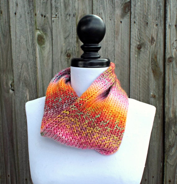 Fashion Double Knit Circle Scarf Womens Scarf - Pink Orange Red Scarf - Cowl Scarf Spring Cowl Womens Accessories - READY TO SHIP