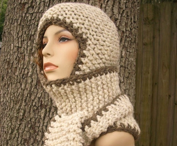 Womens Hat - Garter Nomad Chunky Scarf Ear Flap Hat Wheat Barley Knit Hat - Wheat Scarf Wheat Hat Wheat Hood Hooded Scarf Womens Accessories