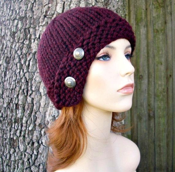 Knit Hat Red Womens Hat - Cloche Hat in Burgundy Oxblood Red Wine Knit Hat - Red Hat Burgundy Hat Red Beanie Womens Accessories Winter Hat