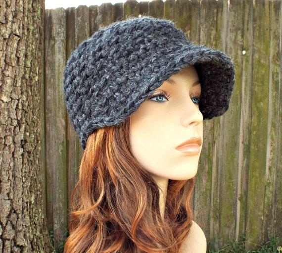 Charcoal Grey Newsboy Hat Crochet Hat Womens Hat - Jockey Cap - Grey Hat Grey Beanie Crochet Newsboy Hat Crochet Hat - Womens Accessories