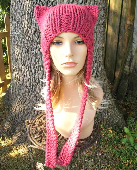 Pink Pussyhat Pink Cat Hat Womens Hat - Pink Ear Flap Cat Hat - Pink Ear Hat Pink Hat Pink Beanie Pink Pussy Hat - READY TO SHIP