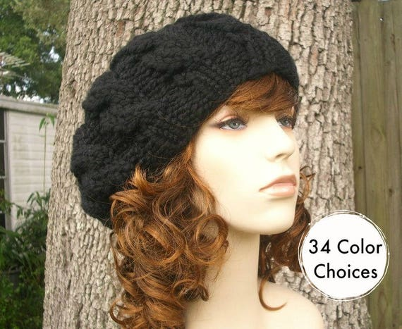 Knit Hat Womens Hat Black Slouchy Beanie Black Cable Beret  60715b7bcd7