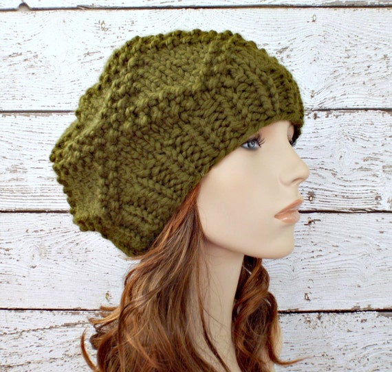 Green Knit Hat Green Womens Hat - Diamond Brocade Beret in Olive Green Hat - Green Beret Green Beanie Womens Accessories