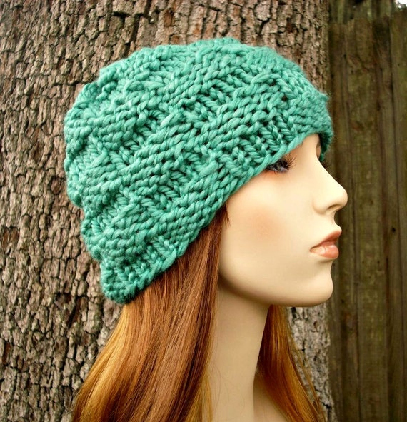Spearmint Green Beanie Chunky Knit Hat Womens Hat - Basket Weave Beanie - Green Hat Green Knit Hat Womens Accessories Winter Hat